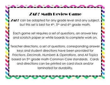 ZAP! Math Review Game