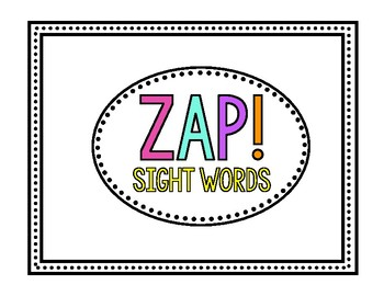 ZAP! Sight Word Container Label *FREEBIE*