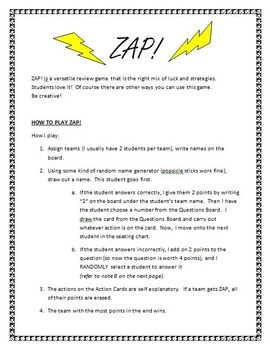 ZAP!  The best review game. Great study guide for math or