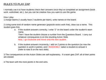 ZAP!  The best review game for checking work.  Power Point version 2!