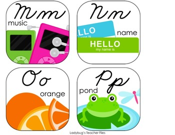 Alphabet Cards—Line and Word Wall Headers (Bright & Clear ZB Cursive)
