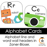 Alphabet Cards—Line and Word Wall Headers (Bright & Clear ZB Manuscript)