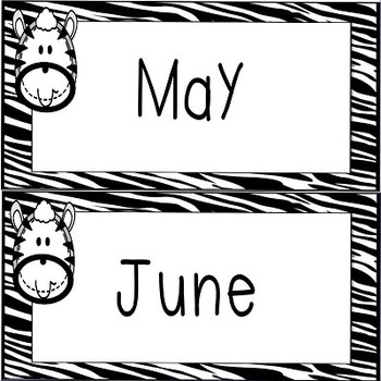 Zebra Calendar Set