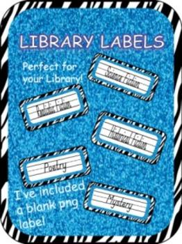 ZEBRA GLITTER LIBRARY LABELS