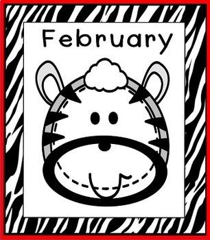 Zebra Theme Classroom Calendar Months Posters
