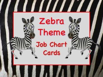 ZEBRA SAFARI Theme Job Chart Cards / Signs - Great for Cla