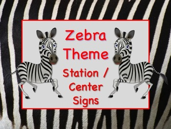 ZEBRA SAFARI Themed Station/Center Signs Great Classroom M
