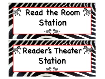 ZEBRA Themed Station/Center Signs - Great Classroom Management!  ADORABLE!