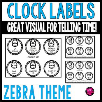 Zebra Theme Clock Labels