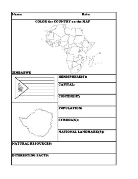 ZIMBABWE COUNTRY RESEARCH WORKSHEET