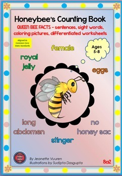 ZIP 8a-c2: HONEY BEE FACTS - QUEEN, DRONE, WORKER - coloring, label, sight words