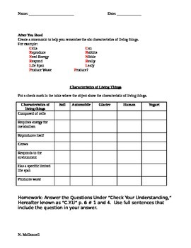 ZLesson 01 Part 2 Characteristics of Living things Worksheet