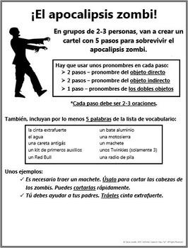 Spanish - ZOMBIE APOCALYPSE! Direct & Indirect Object Pronouns