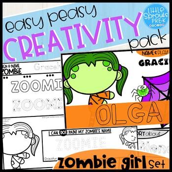 ZOMBIE GIRL SET - Easy Peasy Halloween Creativity Pack - PreK, Kinder, Preschool