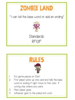 ZOMBIELAND Inflectional Word Endings - ELA First Grade Game - Word Work Center
