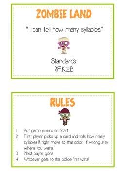 ZOMBIELAND Syllables - ELA First Grade Folder Game - Word Work Center