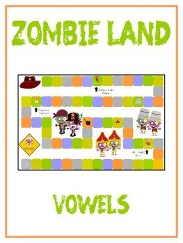 ZOMBIELAND Vowels- ELA First Grade Folder Game - Word Work Center