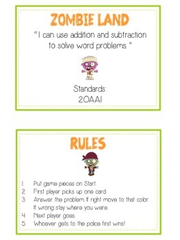 ZOMBIELAND - Word Problems Adding & Subtracting - Math Folder Game