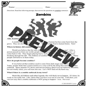 ZOMBIES Reading Comprehension