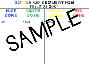 ZONES Of Regulation Feelings Sorting Activity