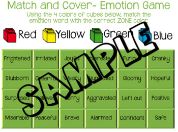 ZONES of Regulation Emotion Match and Cover Activity