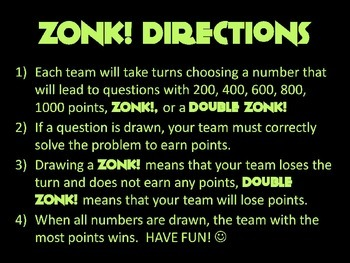ZONK! Fraction Review Game for Common Core
