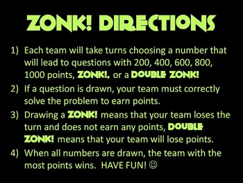 ZONK! 6th Grade Math Review Game - Area & Volume CCSS 6.G.1, 6.G.2, 6.G.3, 6.G.4