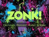 ZONK! Middle School CCSS Math Review Game - Decimals, Percent, Ratio, and Rate