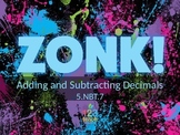 ZONK! Add and Subtract Decimals Test Prep 5.NBT.7 Review Game