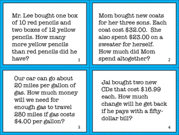 ZONK! Math Task Cards- Common Core Aligned Word Problems