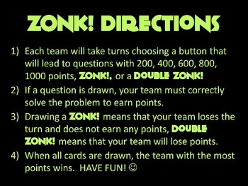 ZONK! Interactive Powerpoint Review Game Template