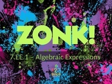 ZONK! Simplifying Algebraic Expressions Review Game 7th Gr