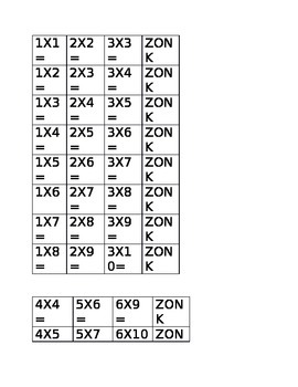 ZONK multiplication game