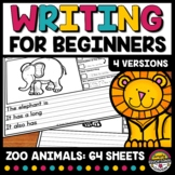 ZOO ANIMALS 1ST GRADE 2ND PICTURE WRITING PROMPT SENTENCE STARTER ACTIVITY PAPER