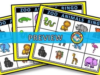 ANIMALS ACTIVITIES: ZOO ANIMALS BINGO GAME: ANIMALS LITERACY GAME
