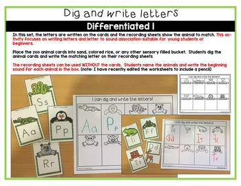 ZOO ANIMALS LITERACY CENTER ACTIVITY- DIG AND WRITE LETTERS & LETTER SOUNDS