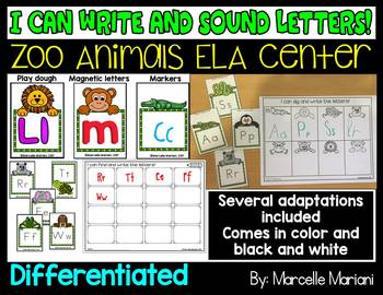 ZOO ANIMALS LITERACY CENTER ACTIVITY- DIG AND WRITE LETTER