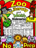 ZOO ANIMALS WORKSHEETS- Literacy and Math- 90+ NO PREP PRINTABLES (CCSS)