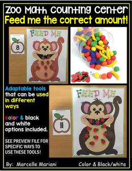 Monkey theme counting math center activities for preschool