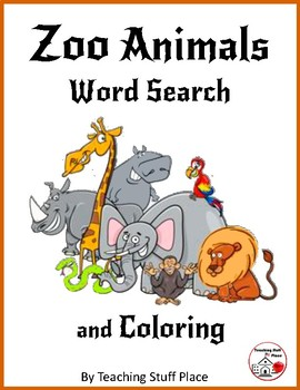 ZOO ANIMALS Word Search & Coloring– Grades 1-2 Vocabulary