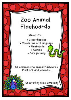 ZOO ANIMALS  theme topic words WORD WALL vocabulary flash cards