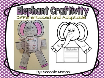 ZOO Animals-ELEPHANT ART- WRITING OR DRAWING CRAFT- ADAPTABLE