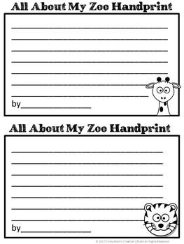 ZOO Animals Handprint Art with Writing