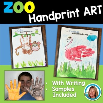 Art With Handprints ZOO Animals Handprint Art with Writing