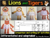 Lion and Tiger art activities- compare the lion and tiger- zoo animals theme