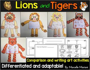 Lion and Tiger art activities- compare the lion and tiger-