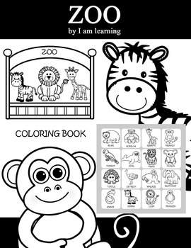 ZOO MINI COLORING BOOK AND CARDS by I am learning | TpT