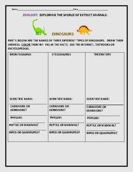 ZOOLOGY PROJECT: DINOSAURS: SCHOOL/CAMP: MIXED/ FUN ACTIVITIES