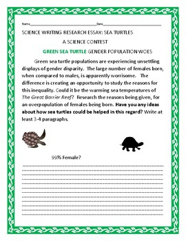 ZOOLOGY:  TROUBLE FOR  GREEN SEA TURTLES: AN ESSAY CONTEST