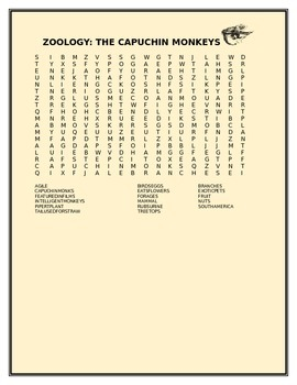 ZOOLOGY:THE CAPUCHIN MONKEYS WORD SEARCH GRADES 3-6